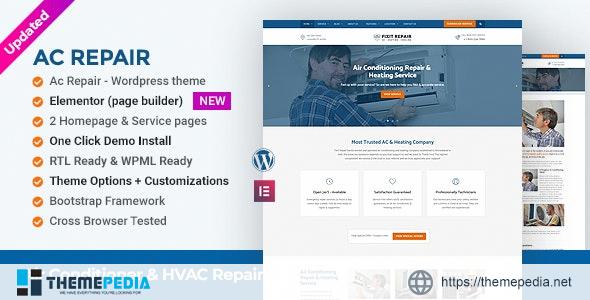 Air Conditioner & HVAC Repair WordPress Theme [Free download]
