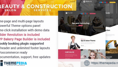 Beauty Salon & Construction Services WordPress Theme [Free download]
