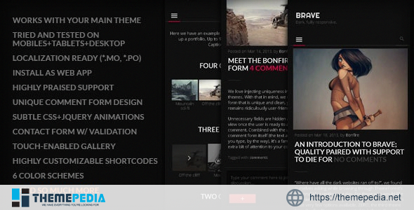 BRAVE – A dark, clean, fully responsive WP theme [Free download]