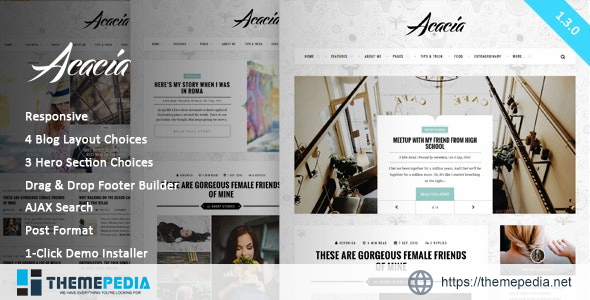 Acacia – Classy & Responsive WordPress Blog Theme [Free download]