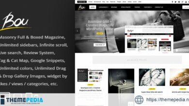 Bou = Masonry Review Magazine Blog WordPress Theme [Free download]