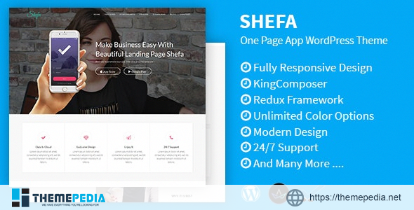 Shefa – One Page App WordPress Theme [Free download]