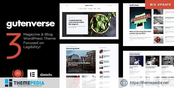 GutenVerse – Magazine and Blog Theme [Free download]