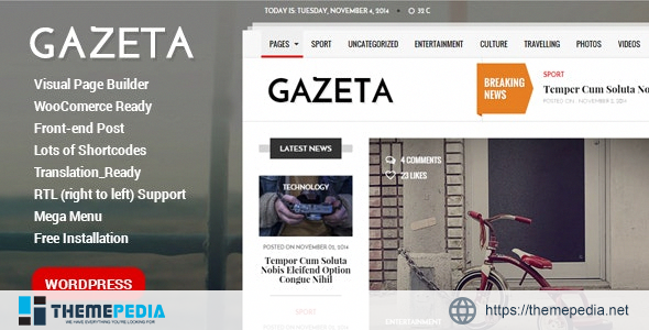 Gazeta – Responsive Magazine WordPress Theme [Updated Version]