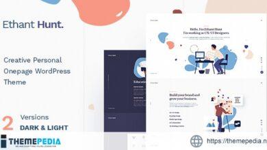 Ethant Hunt – Personal Onepage WordPress Theme [Free download]