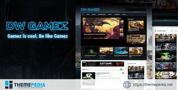 DW Gamez – Responsive WordPress Gaming Theme [Free download]