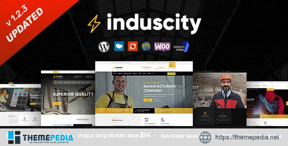 Induscity – Factory and Manufacturing WordPress Theme [Free download]
