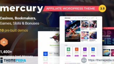 Mercury – Gambling & Casino Affiliate WordPress Theme. News & Reviews [Free download]