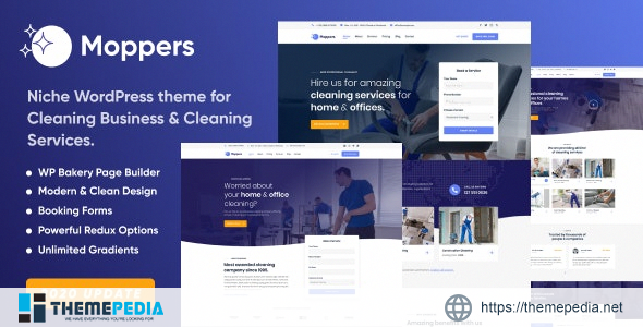 Moppers – Cleaning Company and Services WordPress Theme [Free download]