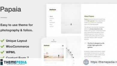 Papaia – Photography & Portfolio WordPress Theme [Free download]