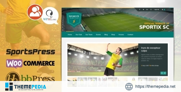 SPORTIX – WordPress SportsPress Theme for Sport Clubs [Free download]