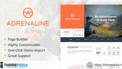 Extreme sports WordPress theme for outdoor adventure businesses – Adrenaline [Updated Version]