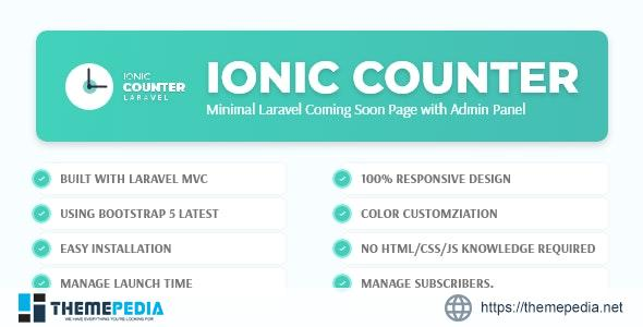 Ionic Counter – Laravel Coming Soon Page with Admin Panel – [Codecanyon Scripts]