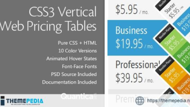 CSS3 Vertical Web Pricing Tables – [Free Download]
