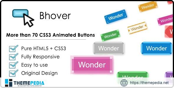Bhover – Big Collection of CSS3 Animated Buttons – [Codecanyon Scripts]