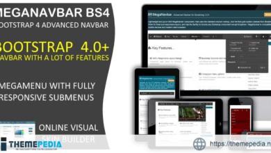 MegaNavbar BS4. (v 1.0.2) Advanced Mega Menu (navbar) for Bootstrap 4.0+ – [100% Nulled Script]