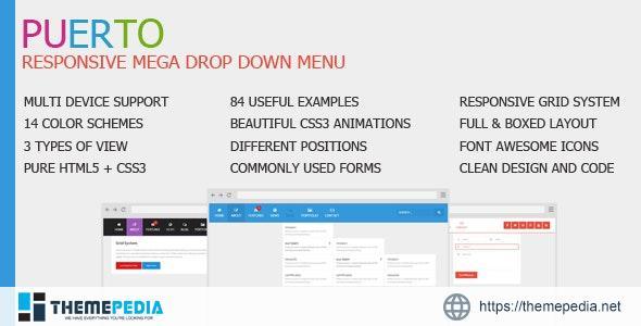 Puerto Responsive Mega Drop Down Menu – [100% Nulled Script]